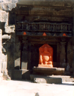 Ganesh idol in the temple atop Harishchandragad
