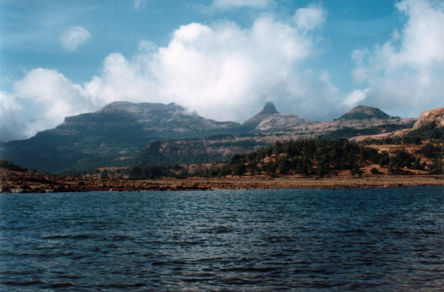 Ratangad and Khutta pinnacle as seen from the launch in the Bhandardara lake